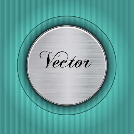 Abstract turquoise background with a metal plate  Vector Illustration
