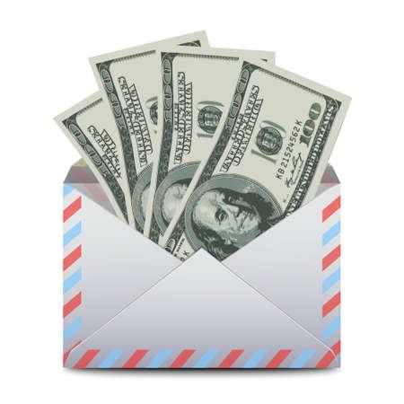 Envelop met dollars USA. Vector Stock Illustratie