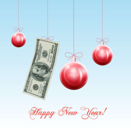 Happy New Year! Celebratory red Christmas balls and US dollars, concept financial success in new year. Vector