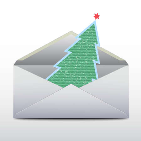 furtree: Envelope with an a fur-tree inside.Vector