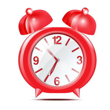 Red alarm clock on a white background Vector