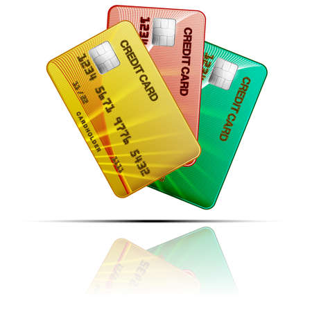 Colour credit cards  on a white background   Vector