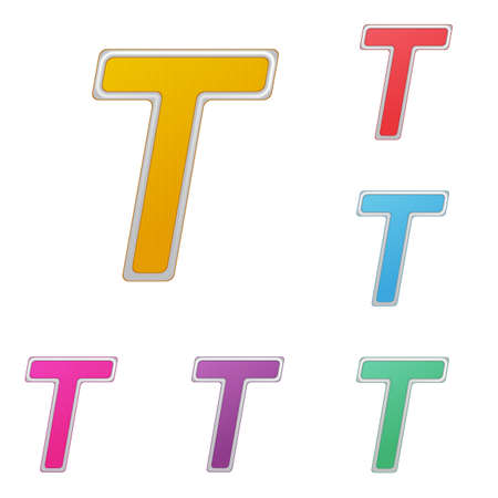 Letter T, set of colour variants, on a white background.