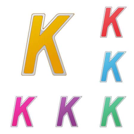 Letter K, set of colour variants, on a white background.