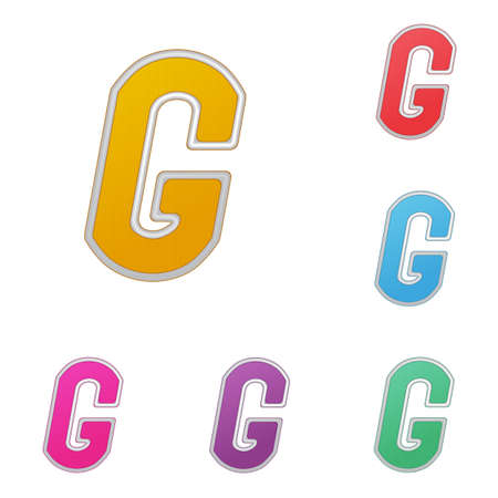 Letter G, set of colour variants, on a white background.