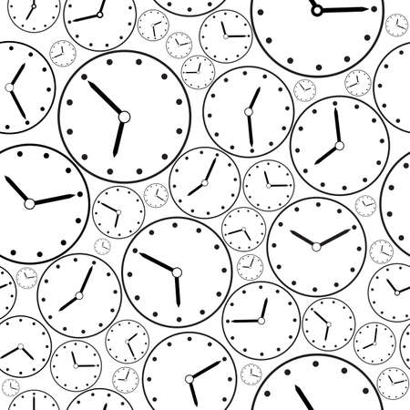 Seamless black-and-white clock pattern for background. Vector