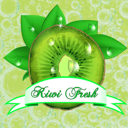 rinds: Juicy fresh kiwi with leaves, drops  and ribbon. Vector
