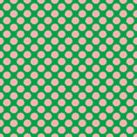 Seamless the pink sun pattern for green background. Vector