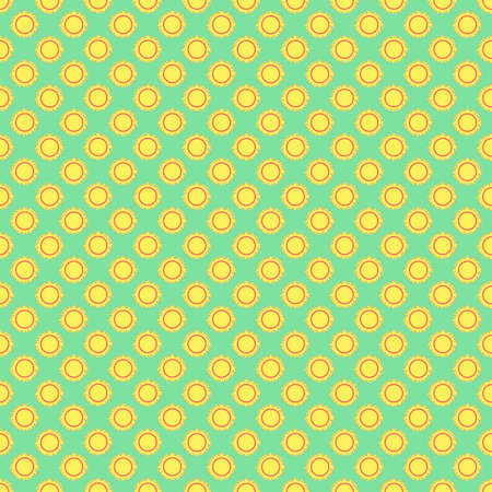 Seamless the yellow sun pattern for green background. Vector Illustration