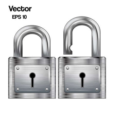 metal structure: Set, icon padlocks open and closed. Metal structure. Vector