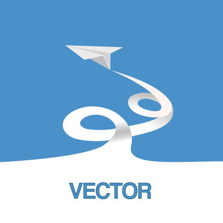 Vector illustration, paper plane in the sky Vector