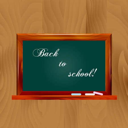 Vector illustration school dark green chalkboard on wooden background. Back to school! Illustration