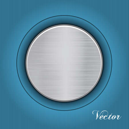 Abstract blue background with a metal plate. Vector