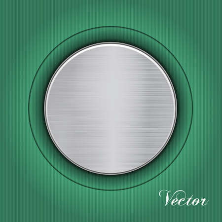 Abstract green background with a metal plate. Vector Vector