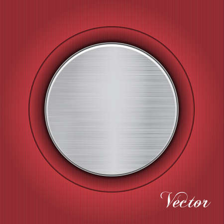 Abstract red background with a metal plate. Vector
