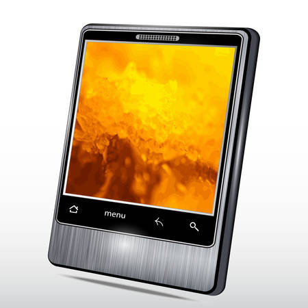 software portability: Mobile phone with a fantastic background on the screen. Vector