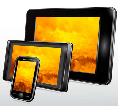 software portability: Set of Mobile Electronic Technics with a fantastic background on the screen. Vector
