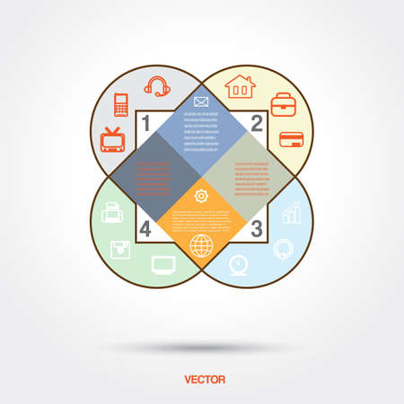 Diagram infographic for business project, workflow and other Your variant. Vector illustration template with text areas.