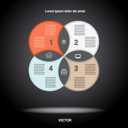Diagram infographic for business project, workflow and other Your variant. Vector illustration template with text areas. Black BACKGROUND 2  Illustration