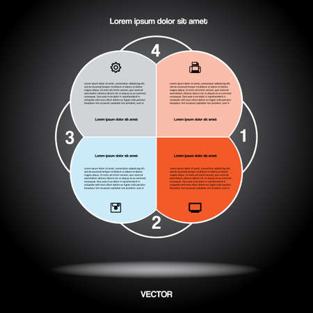 Diagram infographic for business project, workflow and other Your variant. Vector illustration template with text areas.Black BACKGROUND 3
