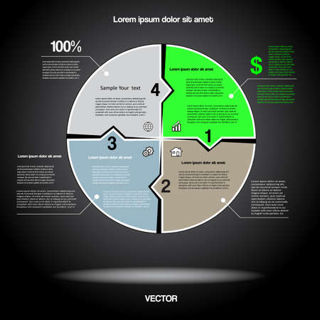 Diagram infographic for business project, workflow and other Your variant. Vector illustration template with text areas.Black BACKGROUND 8