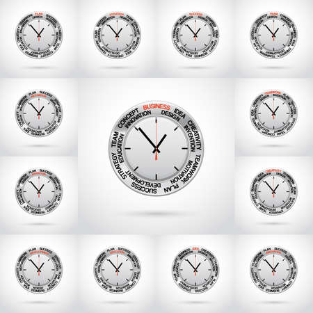 specifies: Set vector  illustrations of clock , red arrow specifies in a word business and other words,  for Your successful business design or presentation