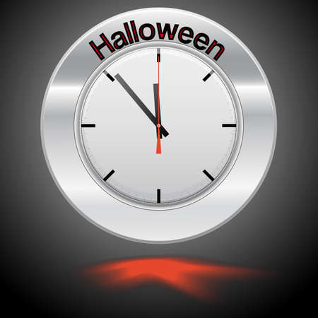 specifies: Vector  illustration of clock , red arrow specifies in a word Halloween,  for Your successful business design or presentation