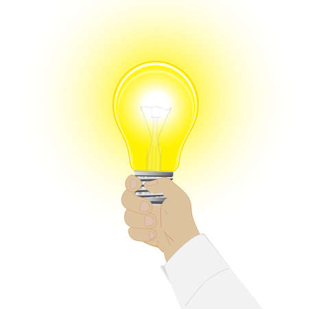 Conceptual vector icon, a light bulb in a hand of the man Illustration