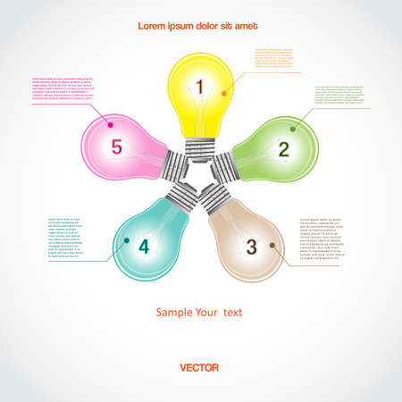 Conceptual vector icon, a five light bulb for diagram infographic  business project, workflow and other Your variant