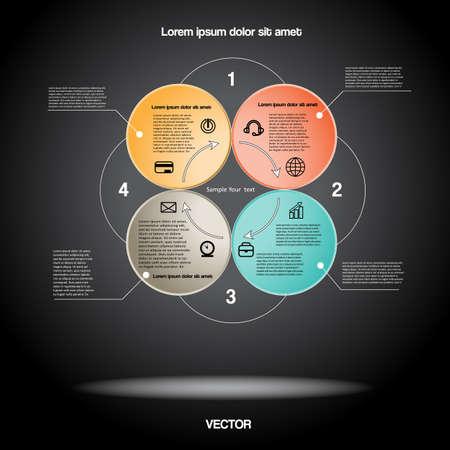 cicla: Infografía Diagrama para el proyecto de negocio, flujo de trabajo y otra Su variante. Ilustración del vector plantilla con áreas de texto. Antecedentes Negro 30 Vectores
