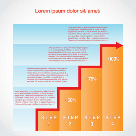 Visualisation of data, bar chart  with an ascending arrow on four positions,place for the text. Vector illustration for business project, workflow Vector