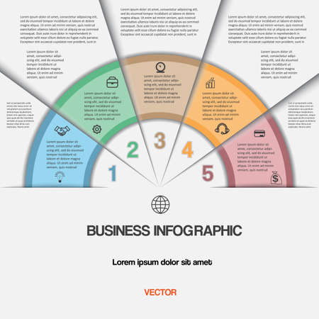 Business infographic for success project and other Your variant. Vector illustration template with text areas on five positions