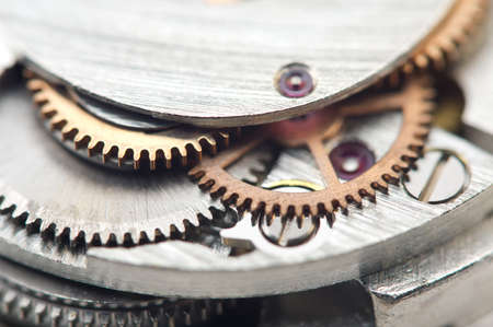 Background with metal cogwheels a clockwork. Conceptual photo for your successful business design. Macro. Stock Photo