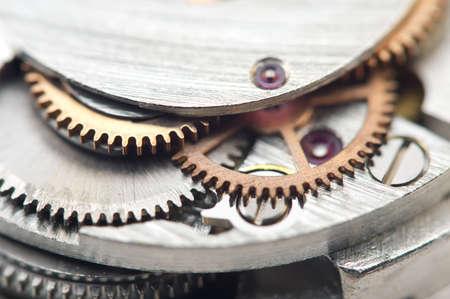 Background with metal cogwheels a clockwork. Conceptual photo for your successful business design. Macro. Standard-Bild