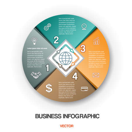 Diagram cyclic process, business infographic for success project and other Your variant. Vector illustration template with text areas on 4 positions Illustration
