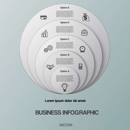 Business infographic for success project and other Your variant. Vector illustration round template  text areas on five positions