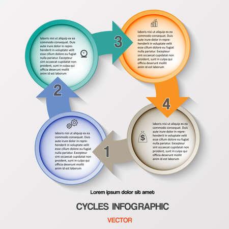 cycles: Cycles Infographie, processus m�tier cyclique Diagramme ou flux de travail pour le projet de r�ussite et d'autres Votre variante. Vector illustration mod�le avec des zones de texte sur quatre positions