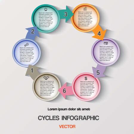 cycles: Ciclos Infograf�a, procesos de negocio c�clico o Diagrama de flujo de trabajo para el proyecto de �xito y otra su variante. Plantilla de ilustraci�n vectorial con �reas de texto en seis posiciones