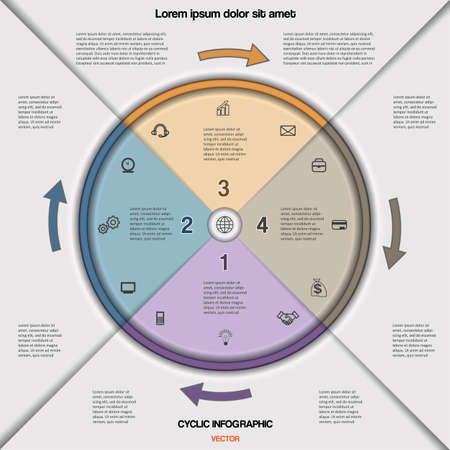 Infographic cyclic business process or workflow for project and other Your variant. Vector illustration template with text areas on four  positions