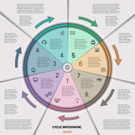 variant: Infographic cyclic business process or workflow for project and other Your variant. Vector illustration template with text areas on seven positions
