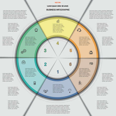 Business circular infographic for success project, workflow, web design, advertising banner and other Your variant. Vector illustration template with text areas on 6 positions.