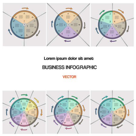 3 4: Business infographic for success project and other Your variant. Set, vector illustration pie chart  template with text areas and arrows on 3,4,5,6,7,8 positions Illustration