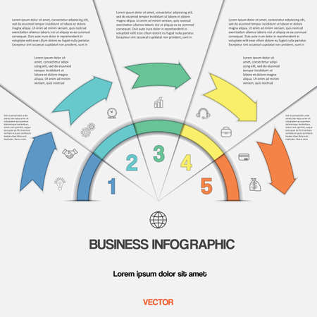 semicircle: Infographic for success business project template with text areas on five positions, Easy to edit vector illustration with 5 colour arrows and semicircle