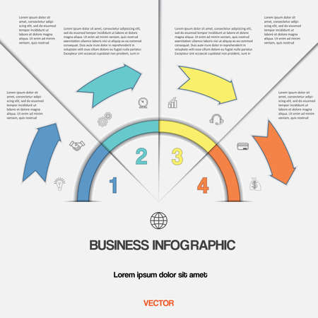 semicircle: Infographic for success business project template with text areas on four positions, Easy to edit vector illustration with 4 colour arrows and semicircle