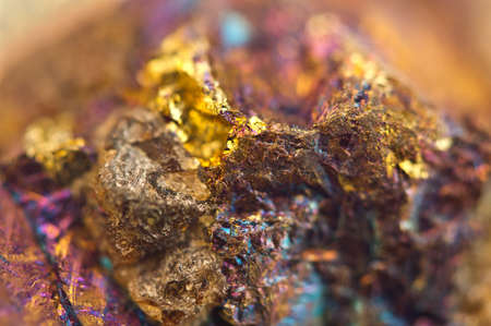 sulfide: Chalcopyrite, It has the chemical formula (CuFeS2). Copper iron sulfide mineral. Macro. Beautiful fantastic background for successful business projects and other Your variant.