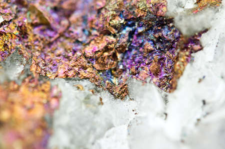 halide: Chalcopyrite in quartz, It has the chemical formula (CuFeS2). Copper iron sulphide mineral. Macro. Beautiful fantastic background for successful business projects and other Your variant.