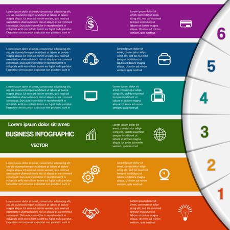 Vector illustration Infografik für den Erfolg Business-Projekt und anderen Ihre Variante Vorlage mit Textbereiche auf sechs Positionen, 6 Farbstreifen und Halbkreis
