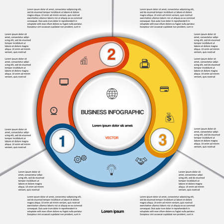 text area: Infographic for success business project, multi-coloured ring numbered, template with text area on three positions Illustration