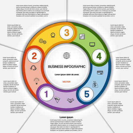 text area: Infographic for success business project, multi-coloured ring numbered, template with text area on five positions