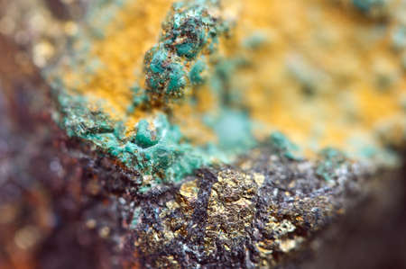 sulfide: Malachite is a copper carbonate hydroxide mineral, with the formula Cu2CO3(OH)2. Green banded mineral crystallizes in the monoclinic crystal system. Macro. Stock Photo